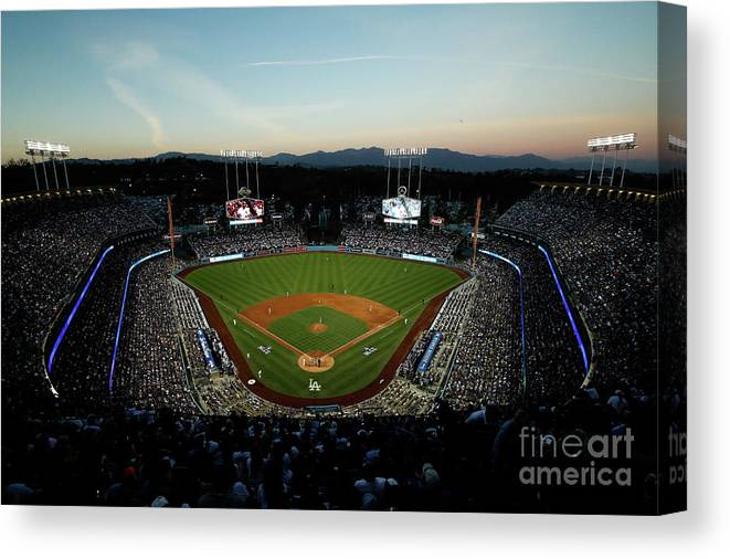 American League Baseball Canvas Print featuring the photograph Nlcs - Chicago Cubs V Los Angeles by Josh Lefkowitz