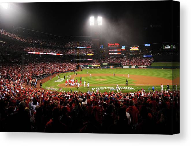 St. Louis Cardinals Canvas Print featuring the photograph Nlcs - San Francisco Giants V St Louis by Michael Thomas