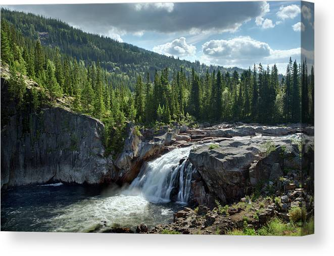 Scenics Canvas Print featuring the photograph Norway Waterfall by Ralph Oechsle