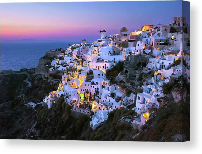 Greek Culture Canvas Print featuring the photograph Oia Lights At Sunset by Greg Gibb Photography