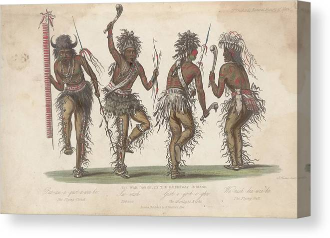 People Canvas Print featuring the digital art Ojibwa War Dance by Rischgitz