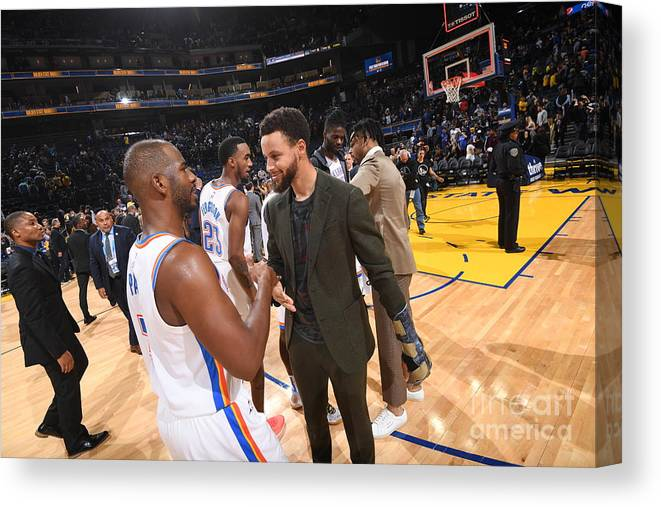Nba Pro Basketball Canvas Print featuring the photograph Oklahoma City Thunder V Golden State by Noah Graham
