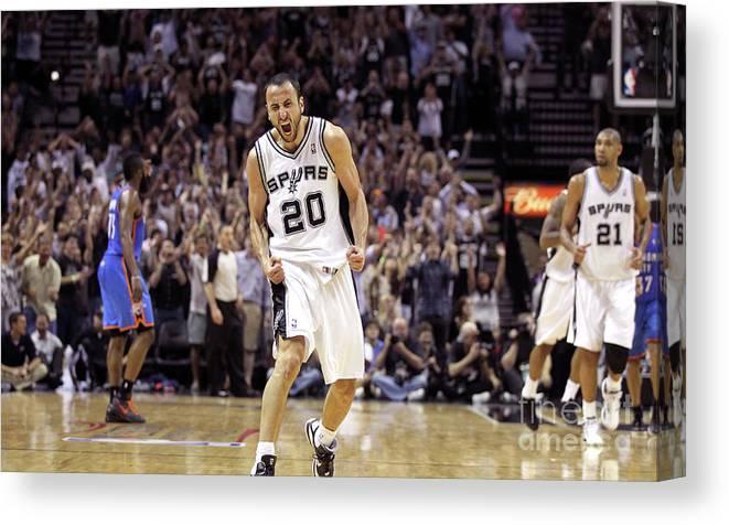 Playoffs Canvas Print featuring the photograph Oklahoma City Thunder V San Antonio by Layne Murdoch