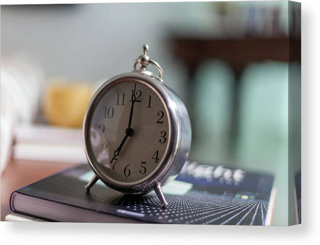 Madrid Canvas Print featuring the photograph Old Alarm Clock by Julio Lopez Saguar