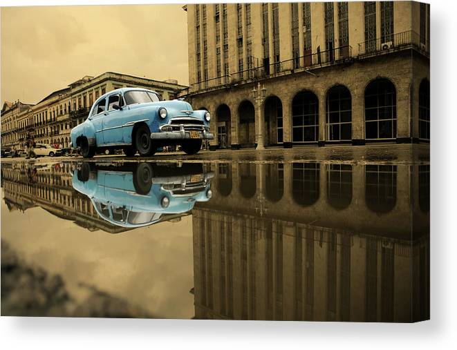 Arch Canvas Print featuring the photograph Old Blue Car In Havana by 1001nights