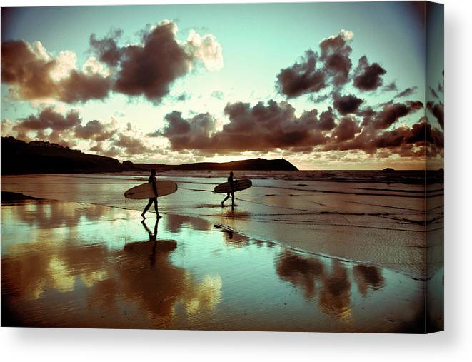 Water's Edge Canvas Print featuring the photograph Old Skool Surf by Landscapes, Seascapes, Jewellery & Action Photographer