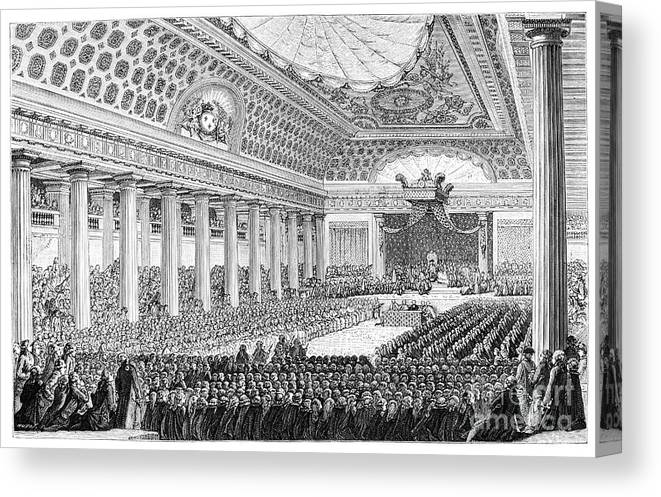 Engraving Canvas Print featuring the drawing Opening Of The Estates General by Print Collector