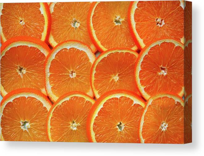 Orange Color Canvas Print featuring the photograph Orange Fruit Slices by D. Sharon Pruitt Pink Sherbet Photography