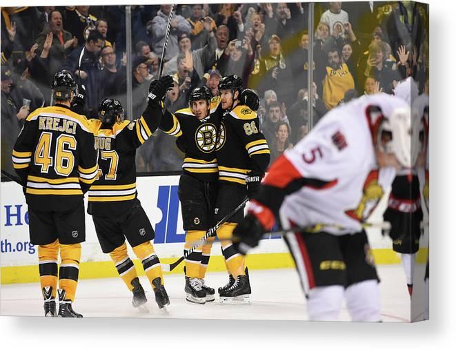 National Hockey League Canvas Print featuring the photograph Ottawa Senators V Boston Bruins by Brian Babineau