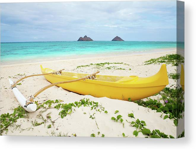 Scenics Canvas Print featuring the photograph Outrigger Canoe Lanikai Beach by M Swiet Productions