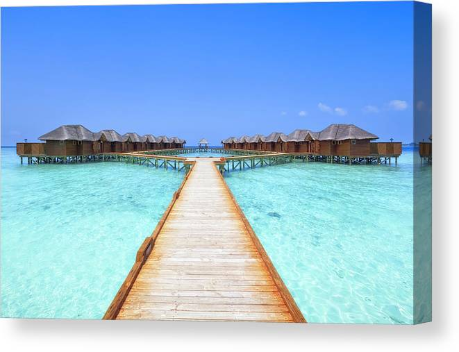 Beach Hut Canvas Print featuring the photograph Overwater Bungalows Boardwalk by Cinoby