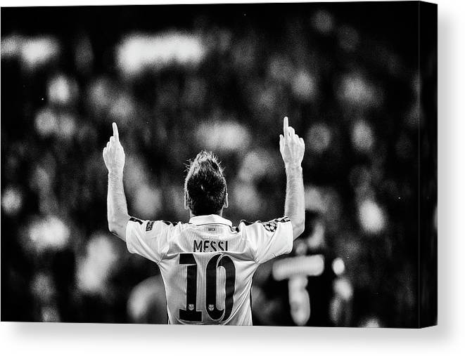 Grass Canvas Print featuring the photograph Paris Saint-germain V Fc Barcelona - by Dean Mouhtaropoulos