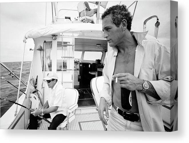 Timeincown Canvas Print featuring the photograph Paul Newman On A Fishing Boat by Mark Kauffman