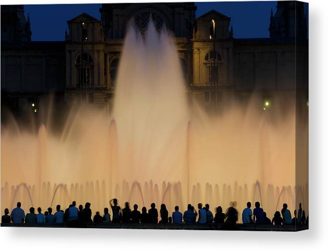 Palace Of Montjuic Canvas Print featuring the photograph People Watching Fountain, Palace Of by Peter Adams