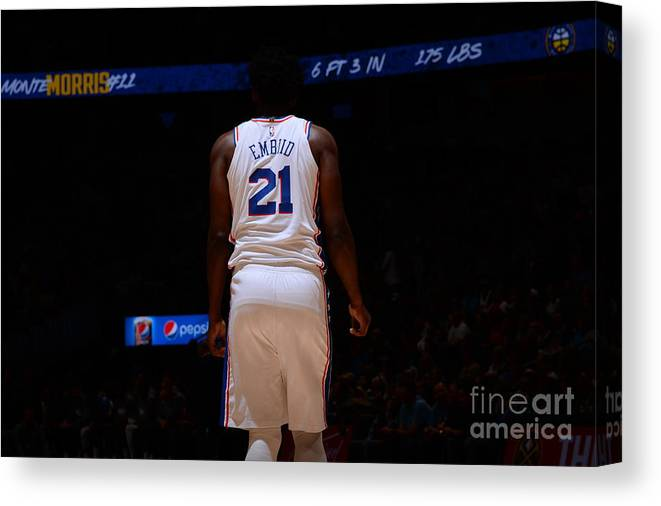 Nba Pro Basketball Canvas Print featuring the photograph Philadelphia 76ers V Denver Nuggets by Bart Young