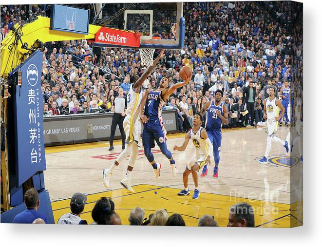 Nba Pro Basketball Canvas Print featuring the photograph Philadelphia 76ers V Golden State by Andrew D. Bernstein