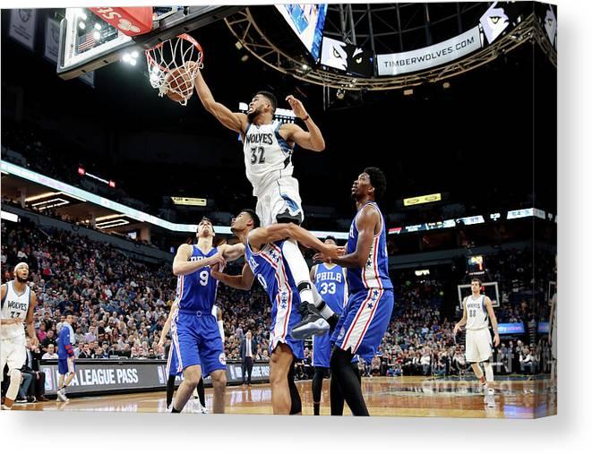 Nba Pro Basketball Canvas Print featuring the photograph Philadelphia 76ers V Minnesota by Jordan Johnson