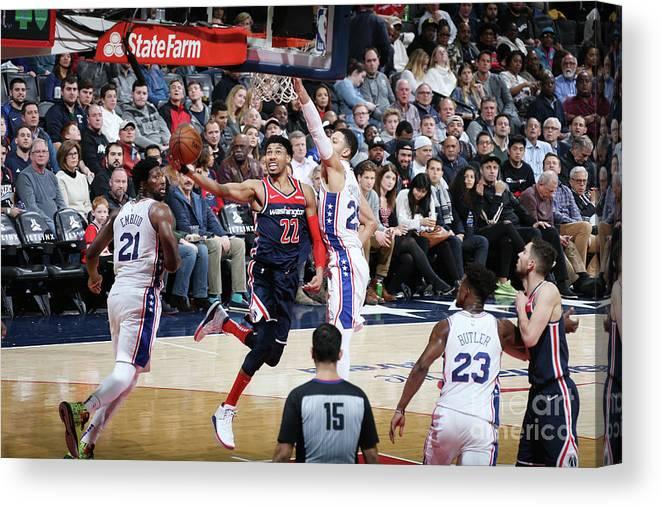 Nba Pro Basketball Canvas Print featuring the photograph Philadelphia 76ers V Washington Wizards by Stephen Gosling