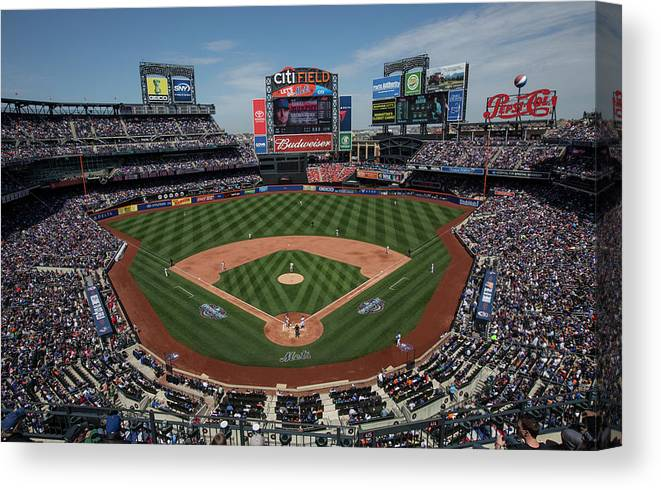 American League Baseball Canvas Print featuring the photograph Philadelphia Phillies V. New York Mets by Anthony Causi
