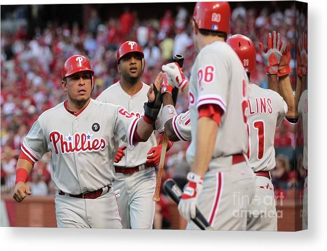 Carlos Ruiz Canvas Print featuring the photograph Philadelphia Phillies V St Louis by Jamie Squire