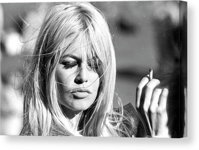 People Canvas Print featuring the photograph Photo Of Brigitte Bardot by Michael Ochs Archives