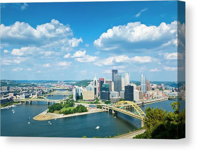 Arch Canvas Print featuring the photograph Pittsburgh, Pennsylvania Skyline With by Drnadig