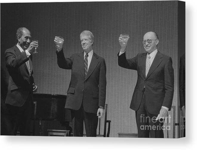 Following Canvas Print featuring the photograph Political Leaders Following State Dinner by Bettmann