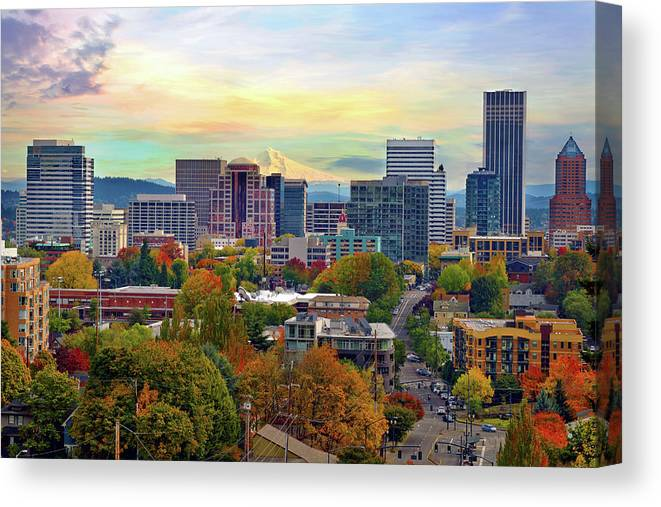 Viewpoint Canvas Print featuring the photograph Portland Oregon Downtown Cityscape In by David Gn Photography