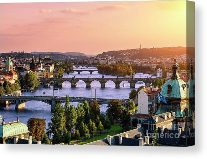 Old Town Canvas Print featuring the photograph Prague, Over View Of City And River by Sylvain Sonnet