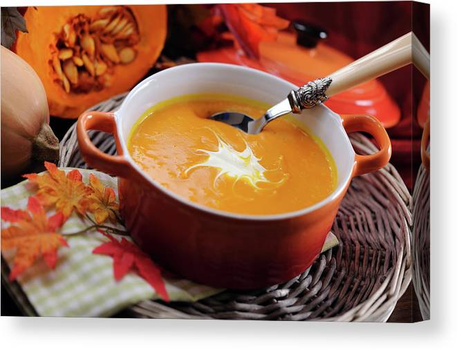 Event Canvas Print featuring the photograph Pumpkin Soup In Skew With Creme Fraiche by Moncherie