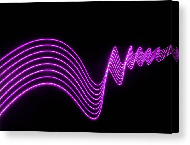 Laser Canvas Print featuring the photograph Purple Abstract Lights Trails And by John Rensten