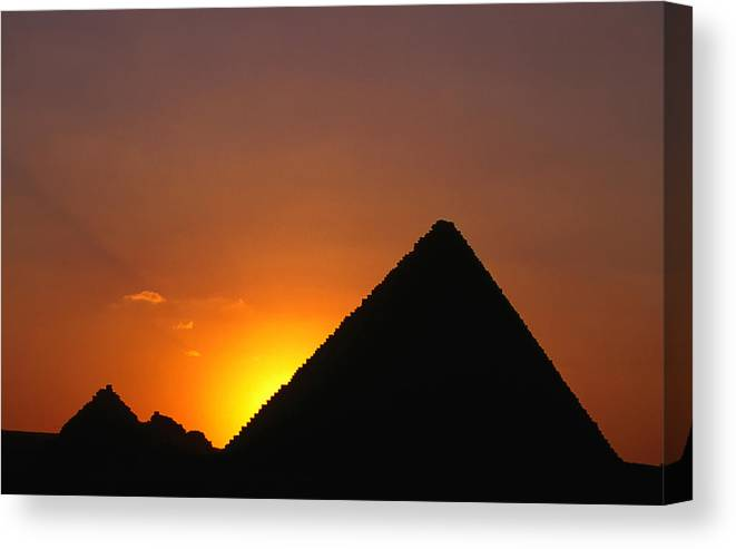 Orange Color Canvas Print featuring the photograph Pyramid Of Mycerinus At Giza At Sunset by Anders Blomqvist