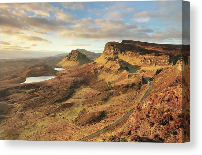 The Quiraing Canvas Print featuring the photograph Quiraing morning light - Isle of Skye by Grant Glendinning