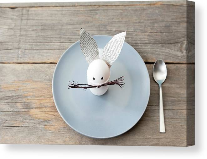 Holiday Canvas Print featuring the photograph Rabbit Decoration On Plate by Stefanie Grewel