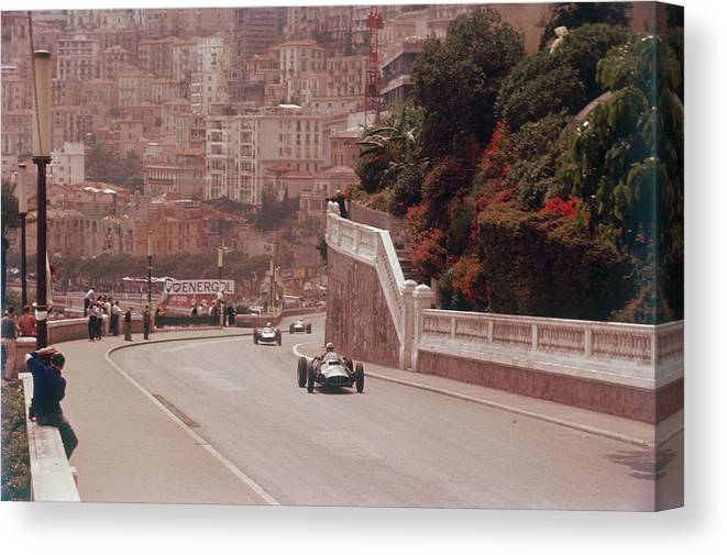 People Canvas Print featuring the photograph Racing Cars On The Road Track At The by Heritage Images