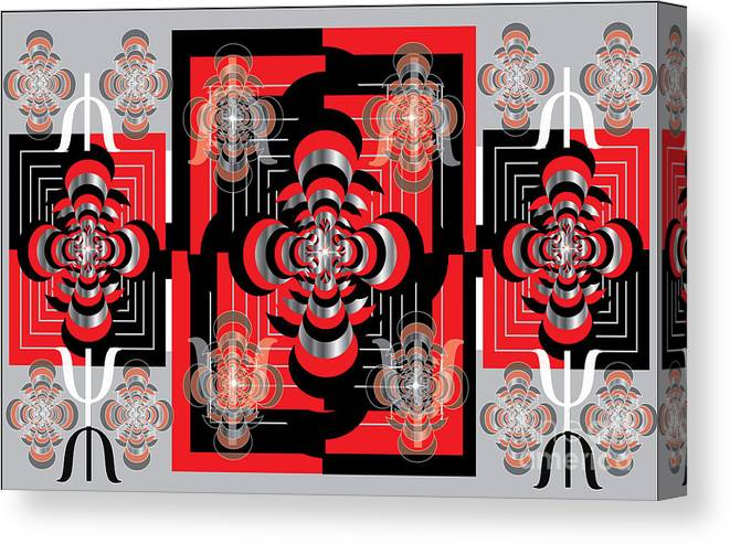 Abstract Canvas Print featuring the digital art Red And Black by George Pasini