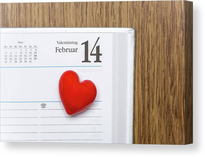 Celebration Canvas Print featuring the photograph Red Heart Marking Valentines Day In A by Stock4b-rf