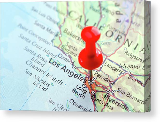 Focus Canvas Print featuring the photograph Red Pin Pointed On The Los Angeles Map by Yorkfoto