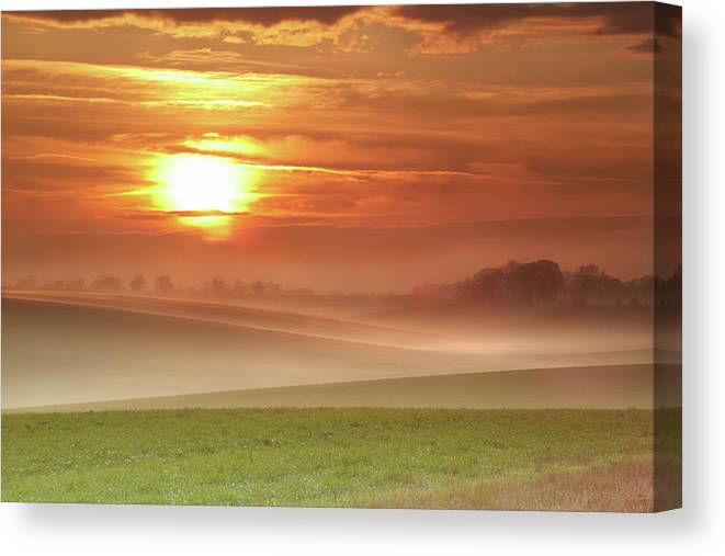 Tranquility Canvas Print featuring the photograph Ripples In Mist by Andy Freer