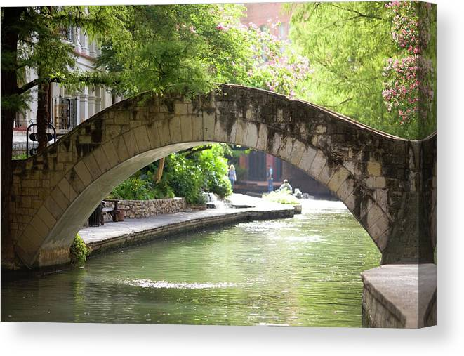 Water's Edge Canvas Print featuring the photograph Riverwalk Stone Arch Bridge by Samdiesel