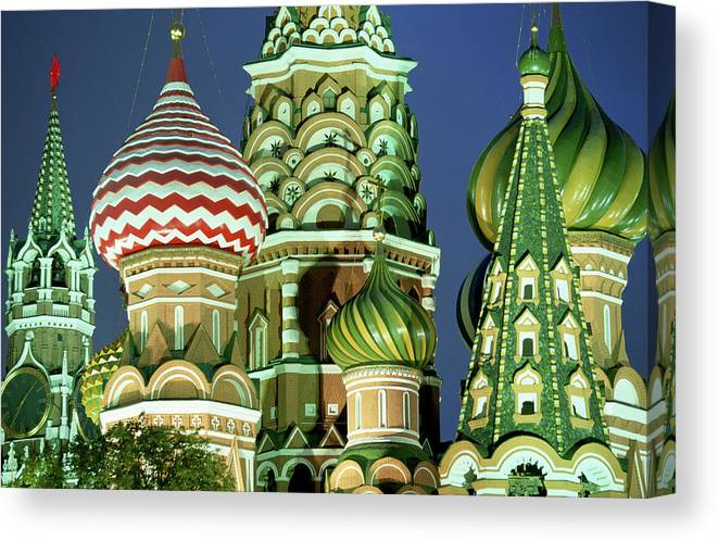 Travel14 Canvas Print featuring the photograph Russia, Moscow, Red Square, St Basils by Peter Adams