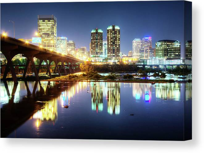 Tranquility Canvas Print featuring the photograph Rva Summer Night - Richmond Va On The by Sky Noir Photography By Bill Dickinson