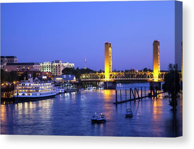 Scenics Canvas Print featuring the photograph Sacramento River And Tower Bridge At by Picturelake