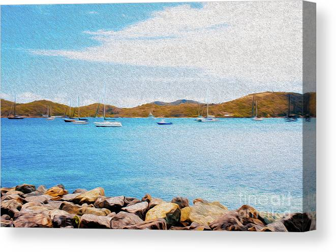 Eastern Caribbean Canvas Print featuring the digital art Sailboat Adventure In San Juan Puerto Rico by Kenneth Montgomery