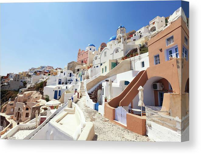 Steps Canvas Print featuring the photograph Santorini, Churches And Houses by Richmatts