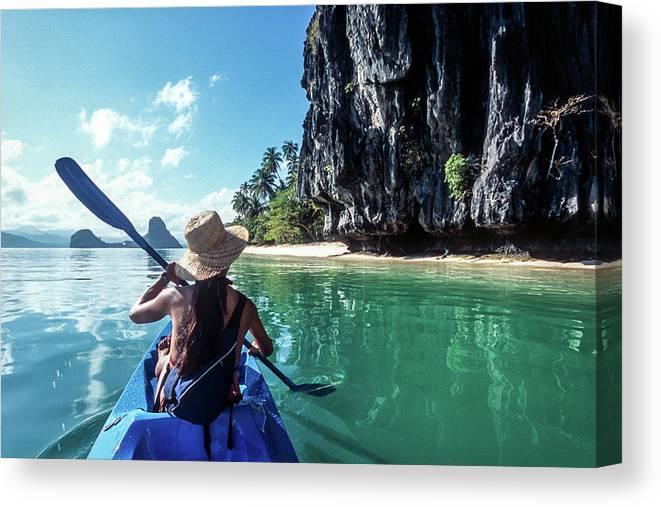 Southeast Asia Canvas Print featuring the photograph Sea Kayaking by John Seaton Callahan