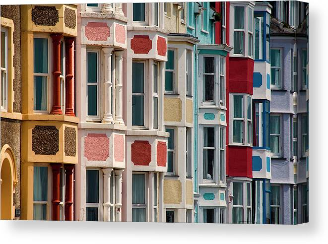 Row House Canvas Print featuring the photograph Seafront Houses, Aberdovey, Wales by David Tait