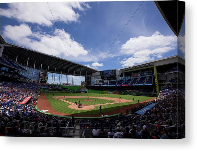 Florida Canvas Print featuring the photograph Seattle Mariners V Miami Marlins by Rob Foldy