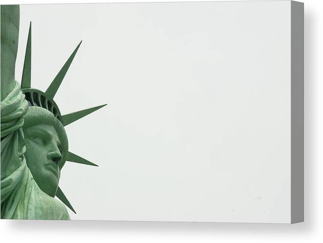 Security Canvas Print featuring the photograph Security At The Statue Of Liberty Ferry by New York Daily News Archive