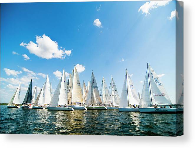 Sailboat Canvas Print featuring the photograph Several Sailboats by Helena Wahlman